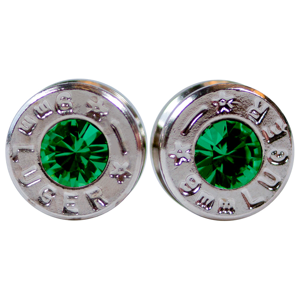 silver emerald bullet earrings