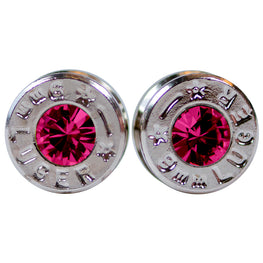 silver ruby bullet earrings