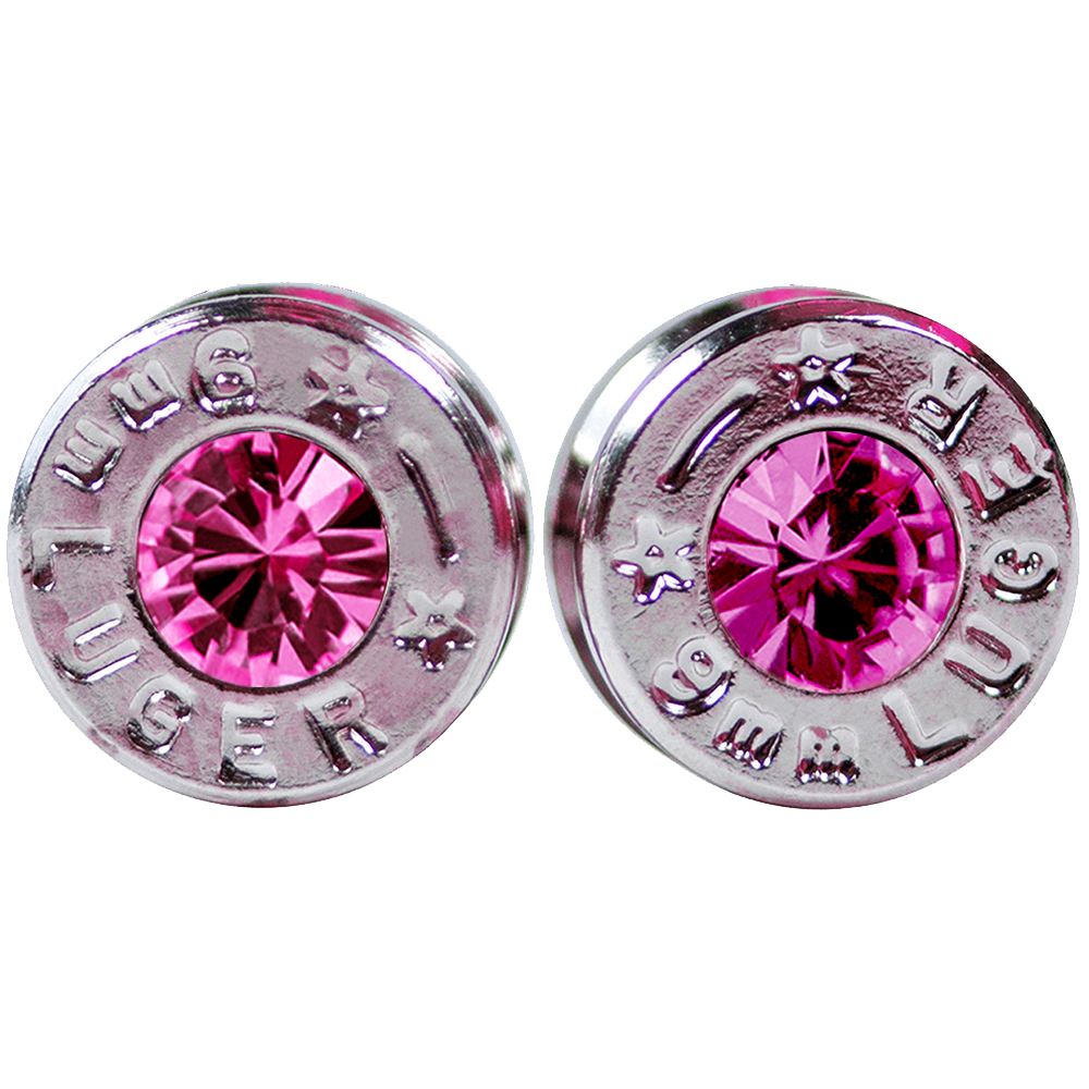 silver pink bullet earrings