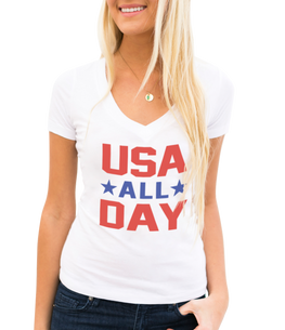 usa all day v neck t shirt