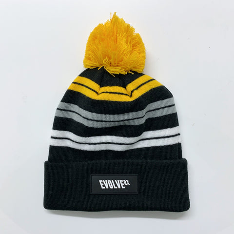 Bobble Beanie | Gold Stripe