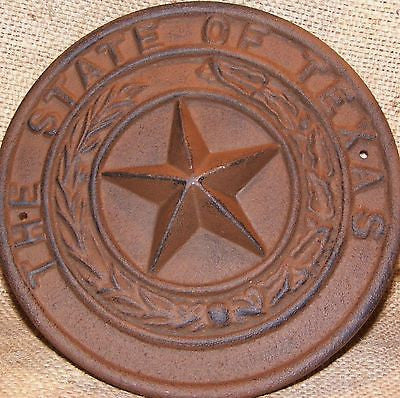 Cast Iron TEXAS STATE SEAL Plaque  #305