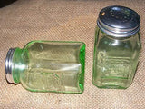 Green Salt and Pepper Shakers Reproduction Depression Glass # 504G