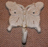 Shabby White Butterfly Cast Iron Hook #119B