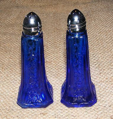Cobalt Blue Salt and Pepper Shakers Pair Reproduction Depression Glass # 508C