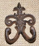 Cast Iron Fleur De Lis Double Hook  #406