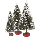 Sisal Bristle Tree Set of 3 Snowy Christmas Holiday Evergreen Bottlebrush Trees #891