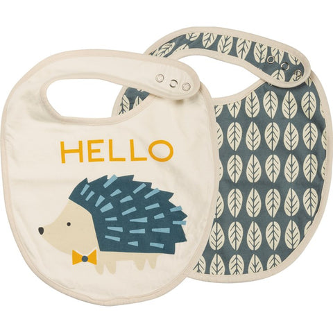 Bib Set of 2 Hello Hedgehog Blue #1232