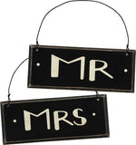 "Wooden Sign Pair ""Mr"" & ""Mrs"" Painted Wood Signs - Wedding Decor Black and White  #811"