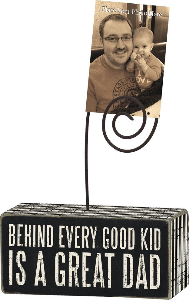 Box Sign Photo Picture Holder Block Good Kid Great Dad Thoughtful Father's Day Gift #750