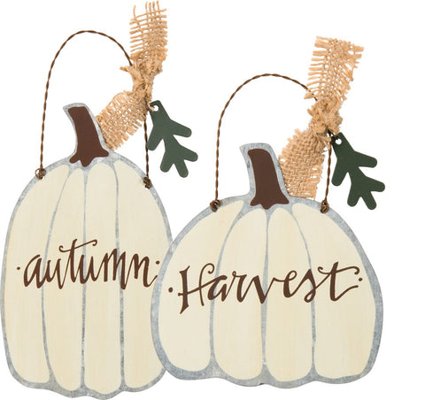 "Fall Decoration Ornaments Set of 2 - ""Autumn"" ""Harvest"" White Tin Pumpkin Signs"