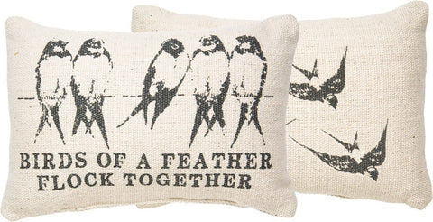 Throw Accent Pillow - Birds of a Feather Flock Together - Bird Themed Decorative Home Decor