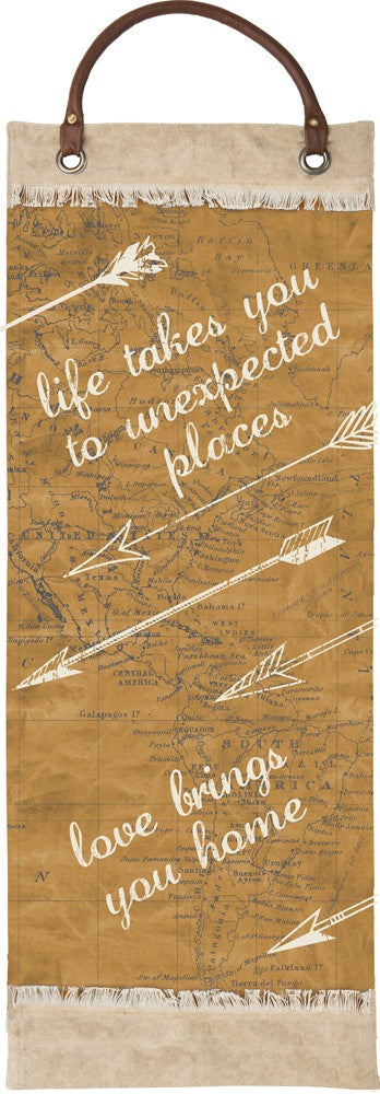 "Canvas Wall Banner ""Life Takes You to Unexpected Places"" Travel Theme Decor B-101"