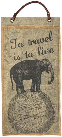 "Canvas Wall Banner ""To Travel is to Live"" Traveling Adventure Decor   B-102"