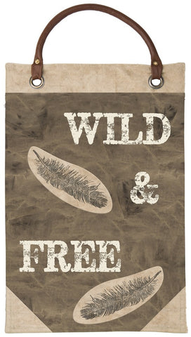"Canvas Wall Banner ""Wild & Free"" With Feather Graphic  B-103"
