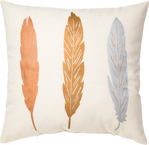 Throw Pillow - With Fall Color Feathers - Copper Gold Silver Metallic Accent colors