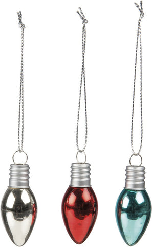 Christmas Tree Light Bulb Ornaments Retro Style - Set of 6 Bulbs