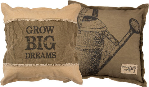 "Throw Accent Pillow Decorative Garden Theme ""Grow Big Dreams"""
