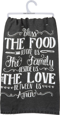 "Tea Towel ""Bless the Food"" Kitchen Dish Cloth Home Decor"