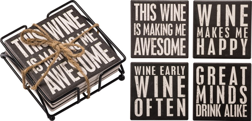 Coasters SET OF 4 with Holder - wine quotes funny black white Home Decor #918