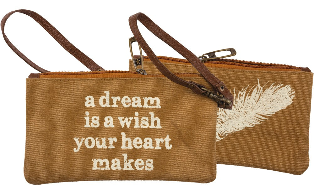 Canvas Wristlet with Leather Strap 'A Dream is a wish' Change Purse #969
