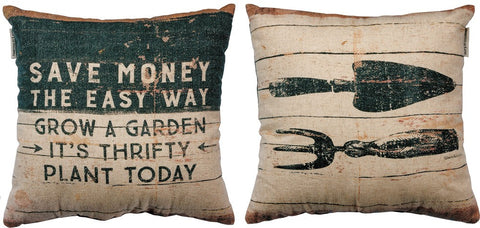 "Throw Accent Pillow ""Grow a Garden"" Decorative Gardening Home Decor"