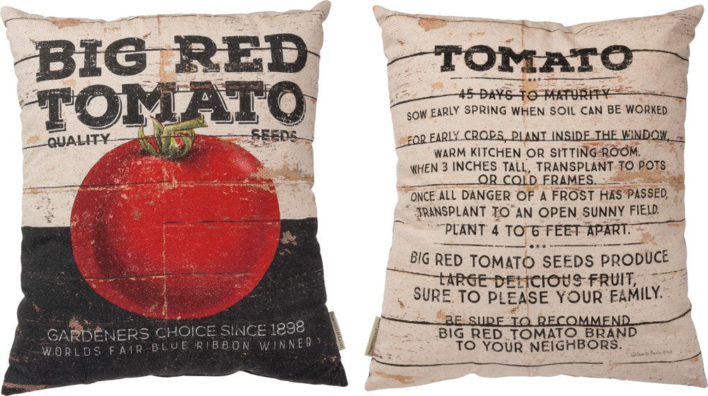 "Throw Accent Pillow ""Big Red Tomato"" Decorative Gardening Home Decor"