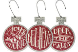 Christmas Tree Ornament Set of 3 Red Tin Round Flat Bulb Holiday Ornaments #903