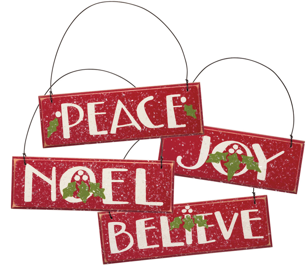 "Christmas Tree Ornaments Set of 4 Wood Holiday Signs - ""Joy"" ""Peace"" ""Noel"" ""Believe"" #760"