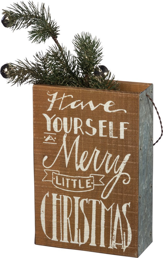 "Christmas Farmhouse Wood Wall Pocket ""Have Yourself a Merry Little Christmas"" #914"
