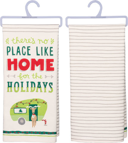 "Christmas Tea Towel ""There's No Place Like Home for the Holidays"""