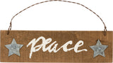 "Christmas Tree Ornament Barn Wood ""Peace""  Set of 2 #907"