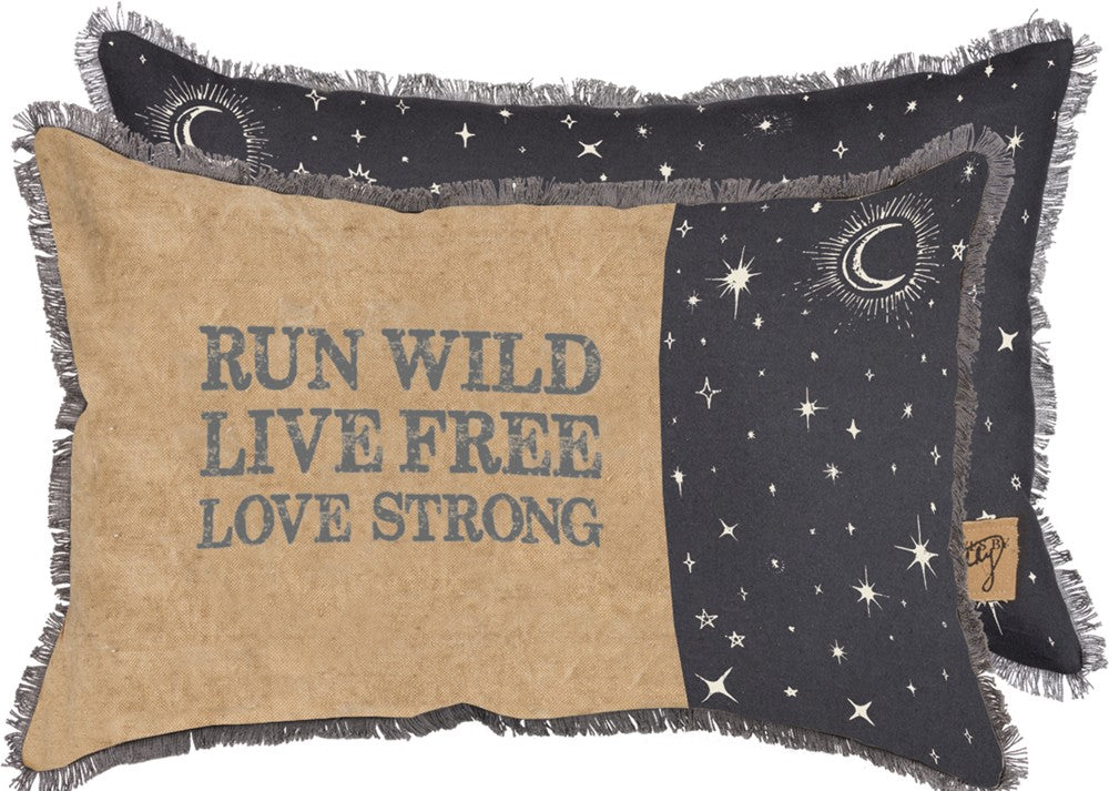 "Throw Accent Pillow ""Run Wild Live Free Love Strong"""