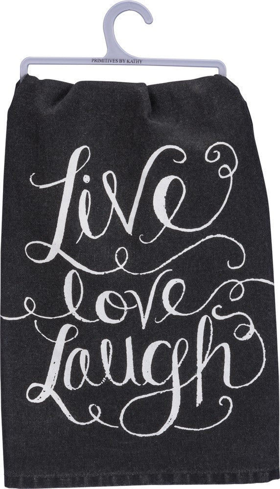 Tea Towel - Live Laugh Love - Grey Dish Cloth Farmhouse Kitchen Home Decor Gift
