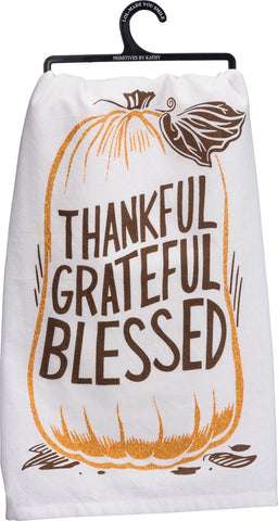 "Fall Tea Towel ""Thankful Grateful Blessed"" Pumpkin Dish Cloth"