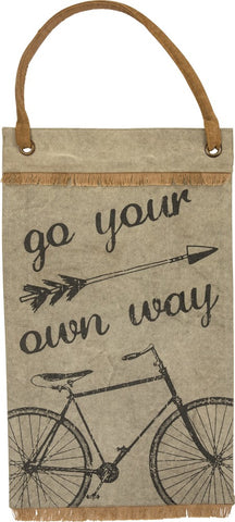 "Canvas Wall Banner ""Go Your Own Way"" Traveling Adventure Decor  B-106"