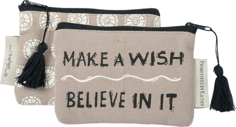 "Canvas Coin Purse ""Make a Wish - Believe In It"" #975"