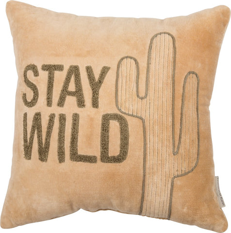 "Throw Pillow ""Stay Wild"" Velvet Cactus Accent Theme"