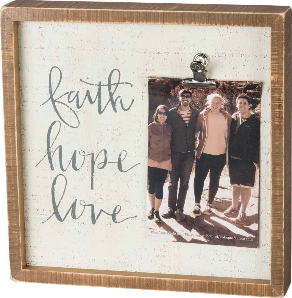 "Inset Wooden Picture Frame with Painted Quotation ""Faith, Hope, Love"" - Decorative Box Sign and Photo Holder #962"
