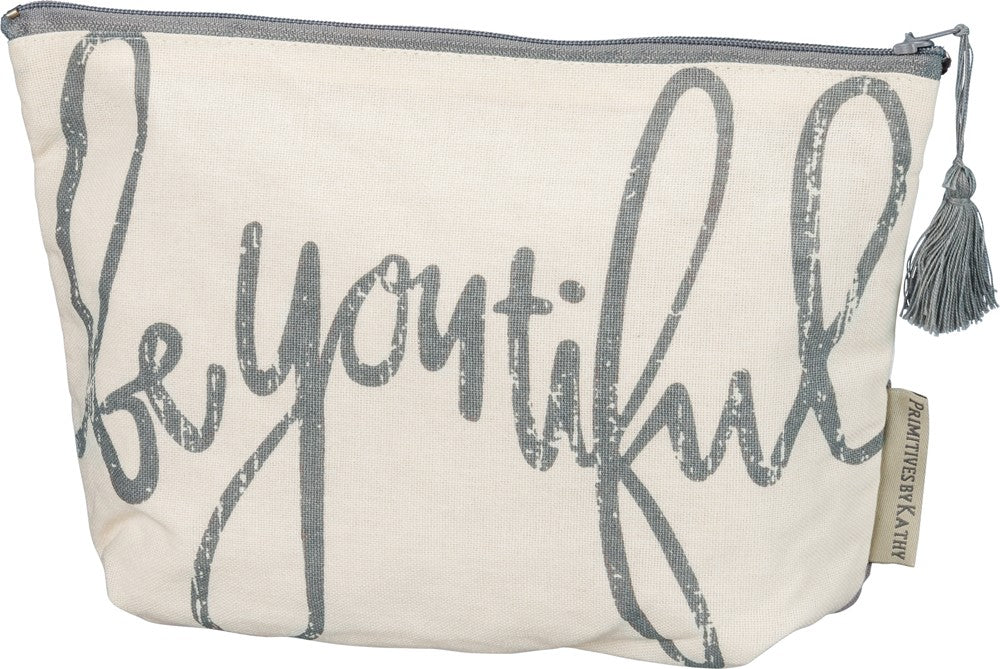 "Zipper Pouch Handbag ""be you tiful"" Cotton Zip up Makeup Bag #968"