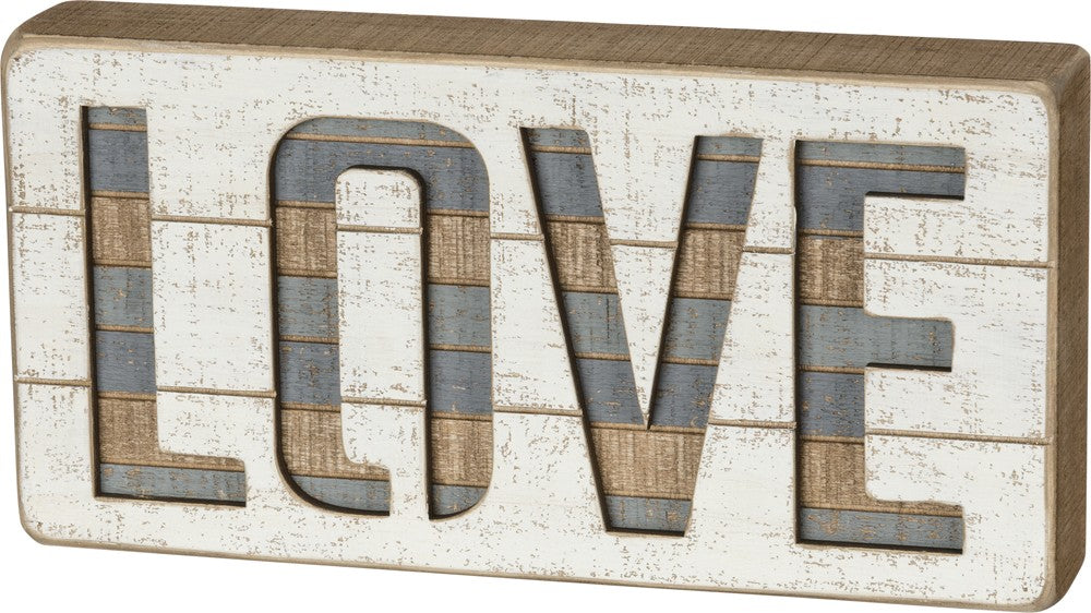 "Slat Box Sign ""LOVE"" Cream and Grey Home Wall Decor #959"