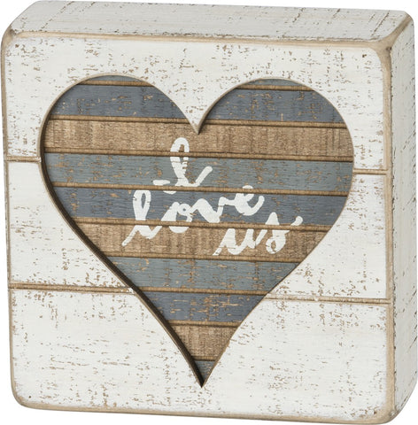 "Slat Box Sign ""I Love Us"" Cream and Grey Inset Heart #961"