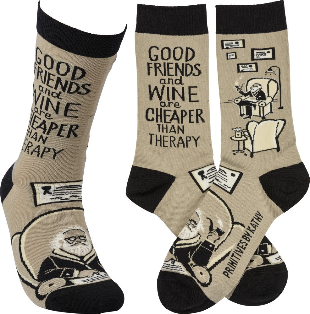 "Socks ""Good Friends and Wine Are Cheaper than Therapy"" #100-1380"