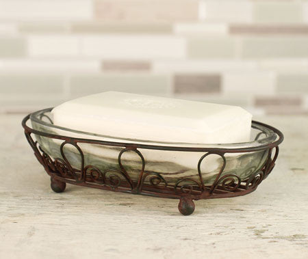 Soap Dish Farmhouse Style Looped Oval with Glass Insert #800-39