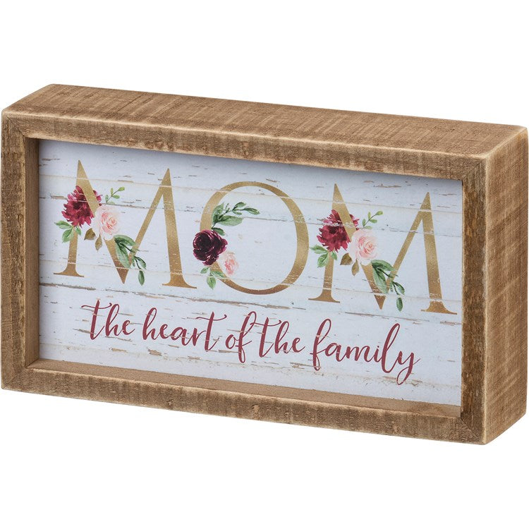 "Box Sign ""Mom is the Heart of the Family"" #1291"