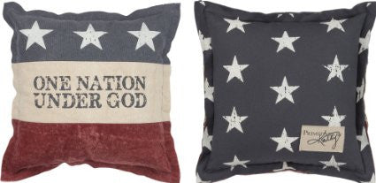 "Throw Accent Pillow ""One Nation Under God"" Decorative Patriotic American Flag Theme Canvas"