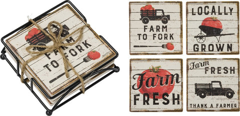 Farm Fresh Coasters Set of 4 with holder. Farmhouse decor