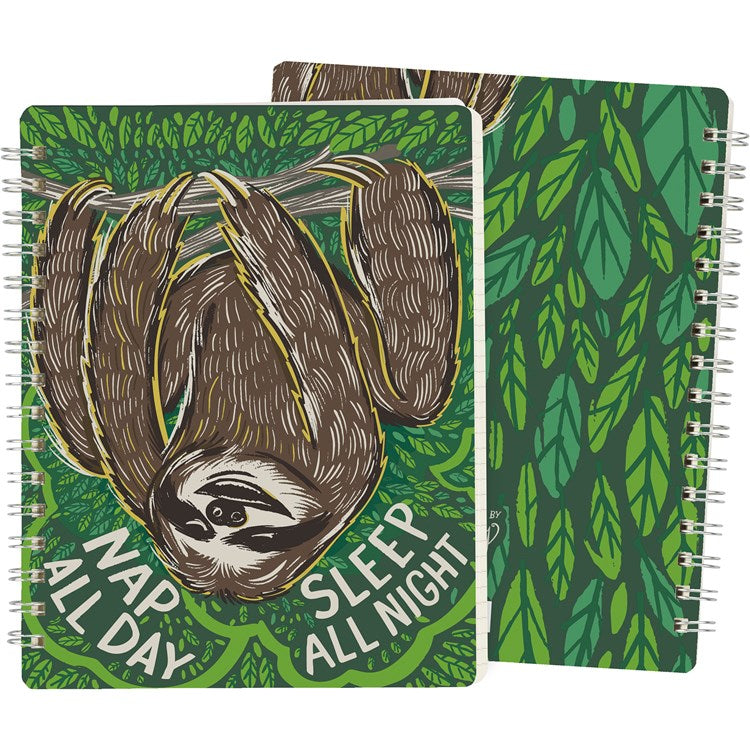 "Notebook ""Nap all Day, Sleep all Night"" with Sloth #1274"