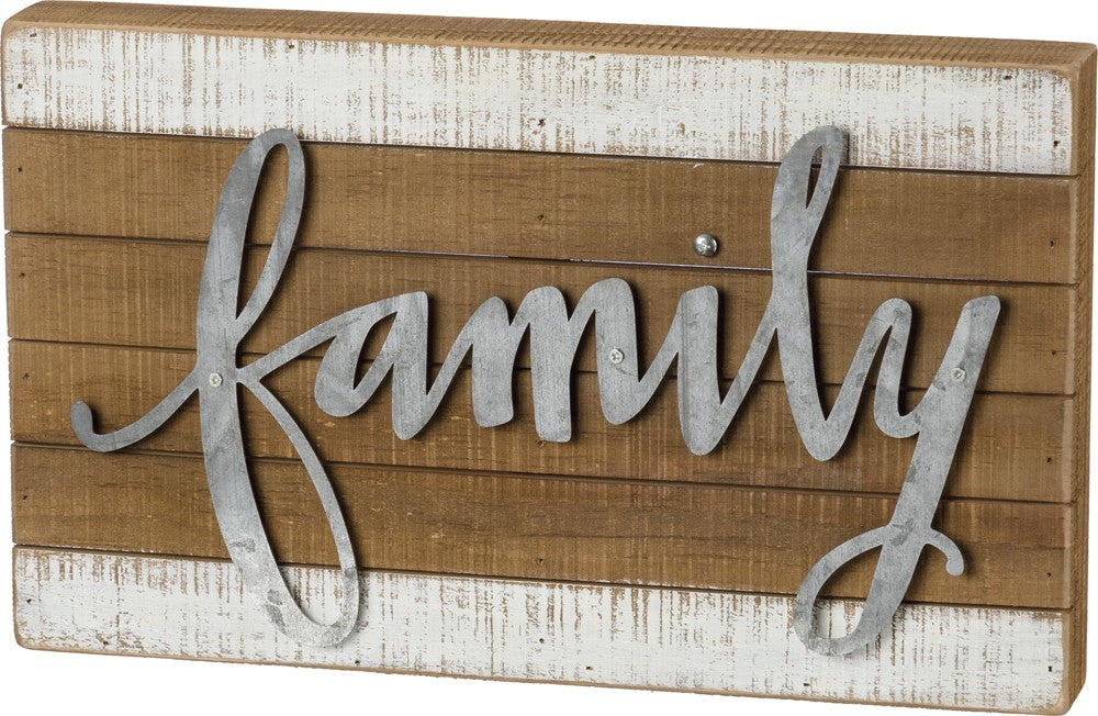"Slat Wood Sign with Raised Metal Letters ""Family"" Farmhouse Decor #957"