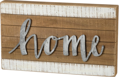 "Slat Wood Sign with Raised Metal Letters ""Home"" Farmhouse Decor #956"
